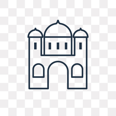 Mosque vector outline icon isolated on transparent background, high quality linear Mosque transparency concept can be used web and mobile