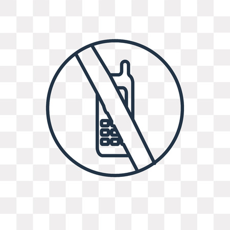 No phone vector outline icon isolated on transparent background, high quality linear No phone transparency concept can be used web and mobile  イラスト・ベクター素材