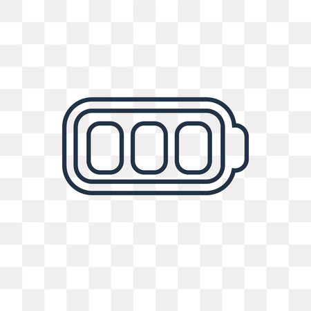 Full Battery vector outline icon isolated on transparent background, high quality linear Full Battery transparency concept can be used web and mobile Stock Illustratie