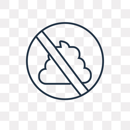No pooping vector outline icon isolated on transparent background, high quality linear No pooping transparency concept can be used web and mobile