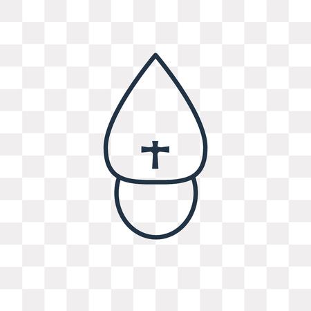Icona di contorno del Papa vettoriale isolato su sfondo trasparente, concetto di trasparenza del Papa lineare di alta qualità può essere usato web e mobile