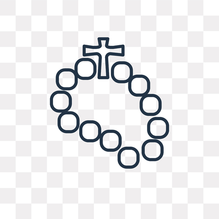 Rosary vector outline icon isolated on transparent background, high quality linear Rosary transparency concept can be used web and mobile 일러스트