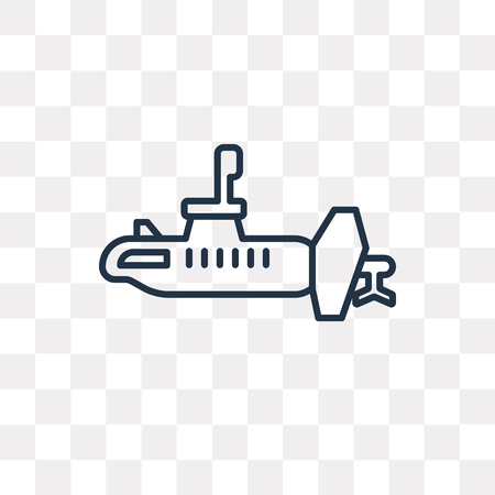 Submarine vector outline icon isolated on transparent background, high quality linear Submarine transparency concept can be used web and mobile