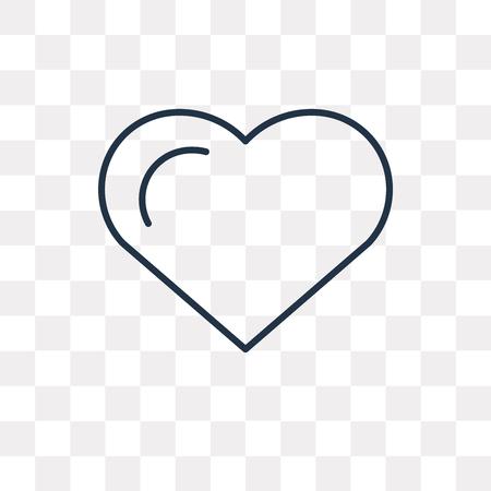 Icône de contour de vecteur de coeur isolé sur fond transparent, concept de transparence coeur linéaire de haute qualité peut être utilisé web et mobile Vecteurs
