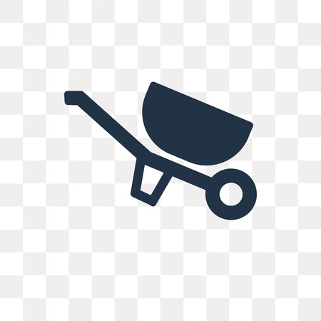Wheelbarrow vector icon isolated on transparent background, Wheelbarrow transparency concept can be used web and mobile Vettoriali