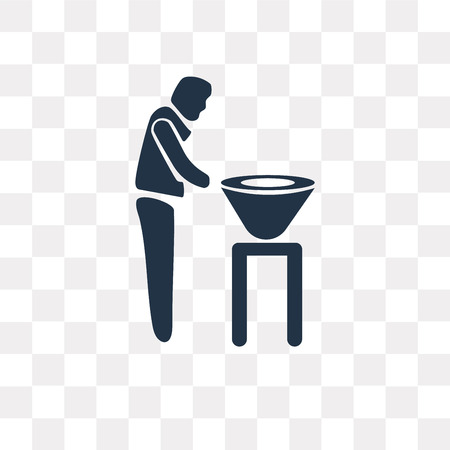 Man with Barbecue vector icon isolated on transparent background, Man with Barbecue transparency concept can be used web and mobile