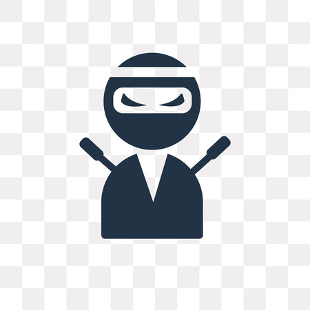 Ninja vector icon isolated on transparent background, Ninja transparency concept can be used web and mobile
