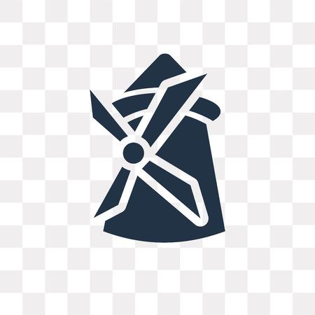 Icône de vecteur de moulin à vent isolé sur fond transparent, concept de transparence moulin à vent peut être utilisé web et mobile