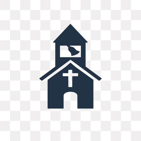 Icono de vector de iglesia aislado sobre fondo transparente, concepto de transparencia de iglesia puede ser usado de la web y móvil Ilustración de vector
