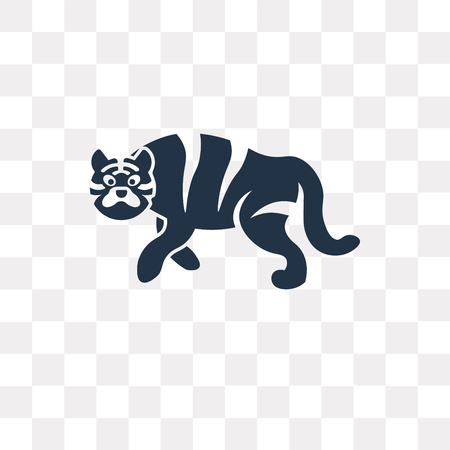 Tiger vector icon isolated on transparent background, Tiger transparency concept can be used web and mobile