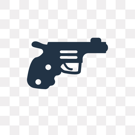 Pistol vector icon isolated on transparent background, Pistol transparency concept can be used web and mobile