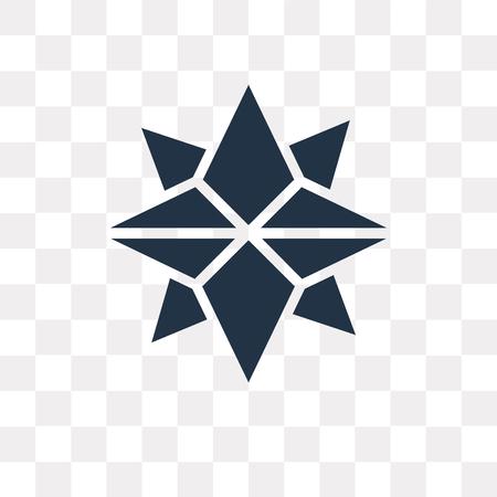 Les points cardinaux sur l'icône de vecteur d'étoile de vents isolé sur fond transparent, les points cardinaux sur le concept de transparence d'étoile de vents peuvent être utilisés web et mobile