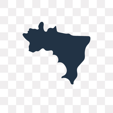 Brazil map vector icon isolated on transparent background, Brazil map transparency concept can be used web and mobile
