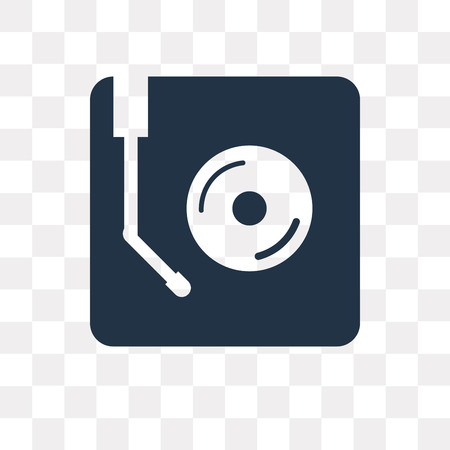 Turntable vector icon isolated on transparent background, Turntable transparency concept can be used web and mobile