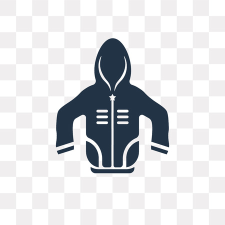 Hooded Jacket vector icon isolated on transparent background, Hooded Jacket transparency concept can be used web and mobile Archivio Fotografico - 112927289