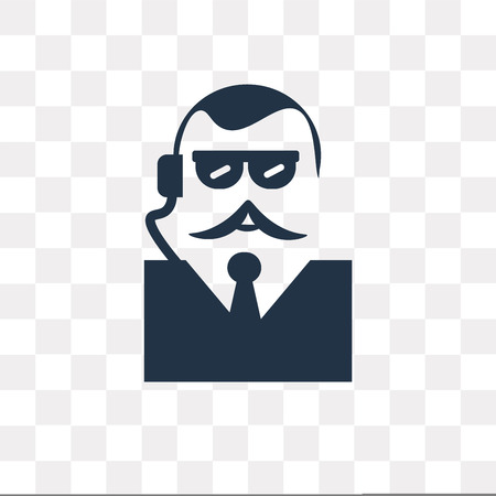 Bodyguard vector icon isolated on transparent background, Bodyguard transparency concept can be used web and mobile Illustration