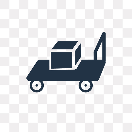 Trolley with Cargo vector icon isolated on transparent background, Trolley with Cargo transparency concept can be used web and mobile Vectores