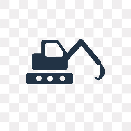 Excavator vector icon isolated on transparent background, Excavator transparency concept can be used web and mobile