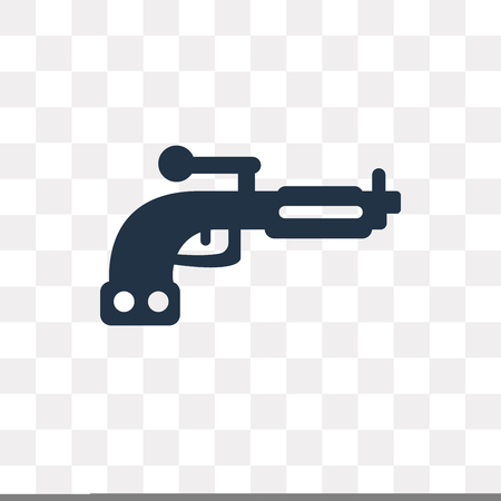 Pistol vector icon isolated on transparent background, Pistol transparency concept can be used web and mobile Stock Vector - 113257693