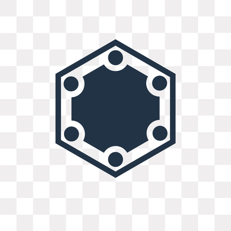 Hexagon vector icon isolated on transparent background, Hexagon transparency concept can be used web and mobile
