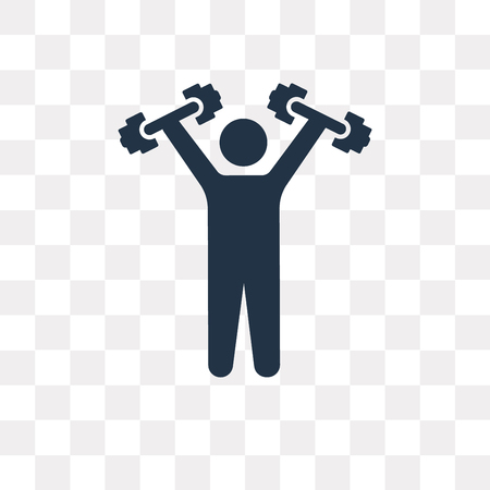 Lifting Dumbbells vector icon isolated on transparent background, Lifting Dumbbells transparency concept can be used web and mobile Stock Vector - 113257706