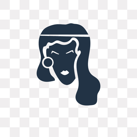 Woman with Curls vector icon isolated on transparent background, Woman with Curls transparency concept can be used web and mobile Illustration