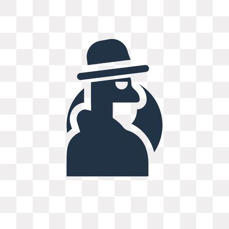 Icona di vettore spia isolato su sfondo trasparente, concetto di trasparenza spia può essere usato web e mobile Vettoriali