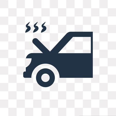 Car with Heat Problems vector icon isolated on transparent background, Car with Heat Problems transparency concept can be used web and mobile