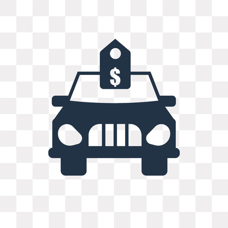 Brand new car with dollar price tag vector icon isolated on transparent background, Brand new car with dollar price tag transparency concept can be used web and mobile Çizim