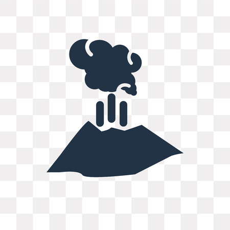 Erupting Volcano vector icon isolated on transparent background, Erupting Volcano transparency concept can be used web and mobile