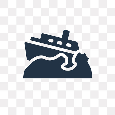 Boat Capsizes vector icon isolated on transparent background, Boat Capsizes transparency concept can be used web and mobile