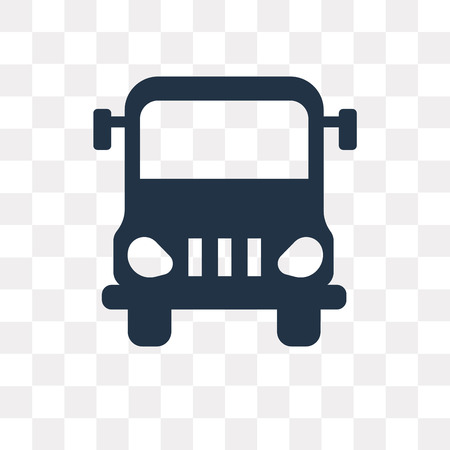 Big Bus front vector icon isolated on transparent background, Big Bus front transparency concept can be used web and mobile