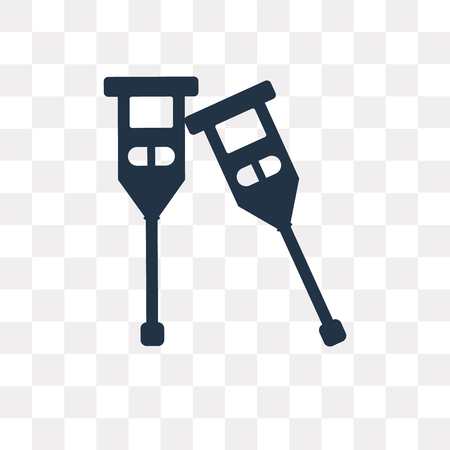 Crutches vector icon isolated on transparent background, Crutches transparency concept can be used web and mobile