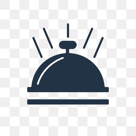 Icône de vecteur de cloche d'hôtel isolé sur fond transparent, concept de transparence de cloche d'hôtel peut être utilisé web et mobile
