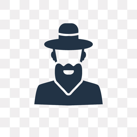 Rabbi vector icon isolated on transparent background, Rabbi transparency concept can be used web and mobile