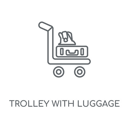 Trolley with Luggage linear icon. Trolley with Luggage concept stroke symbol design. Thin graphic elements vector illustration, outline pattern on a white background, eps 10.