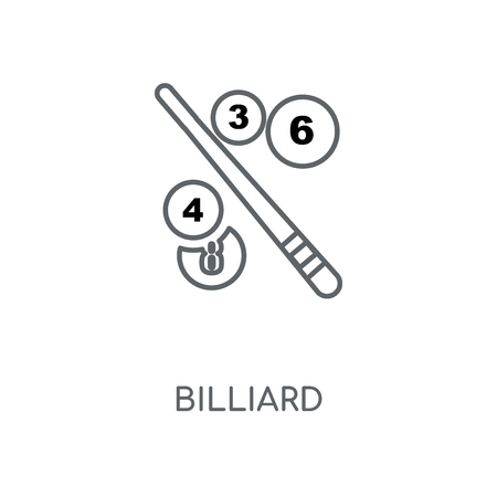 Billiard linear icon. Billiard concept stroke symbol design. Thin graphic elements vector illustration, outline pattern on a white background, eps 10.