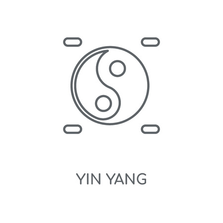 Yin yang linear icon. Yin yang concept stroke symbol design. Thin graphic elements vector illustration, outline pattern on a white background, eps 10. Çizim