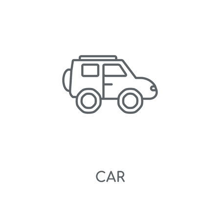 Car linear icon. Car concept stroke symbol design. Thin graphic elements vector illustration, outline pattern on a white background, eps 10.