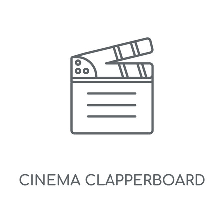 Cinema clapperboard linear icon. Cinema clapperboard concept stroke symbol design. Thin graphic elements vector illustration, outline pattern on a white background, eps 10.