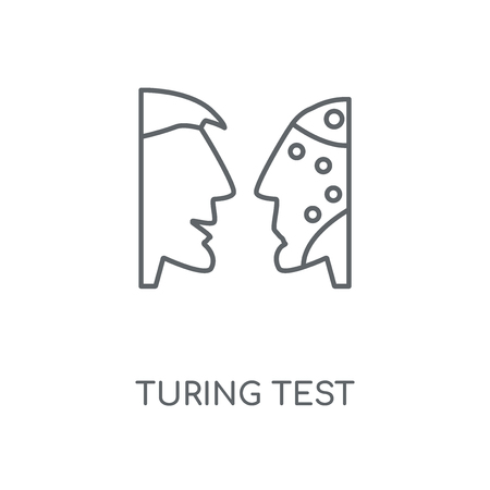 Turing test linear icon. Turing test concept stroke symbol design. Thin graphic elements vector illustration, outline pattern on a white background, eps 10.  イラスト・ベクター素材