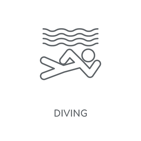 Diving linear icon. Diving concept stroke symbol design. Thin graphic elements vector illustration, outline pattern on a white background, eps 10. Stock Illustratie