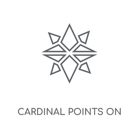 Cardinal points on winds star symbol linear icon. Cardinal points on winds star symbol concept stroke symbol design. Thin graphic elements vector illustration, outline pattern on a white background, eps 10. Banque d'images - 113801448