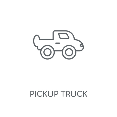 Pickup truck linear icon. Pickup truck concept stroke symbol design. Thin graphic elements vector illustration, outline pattern on a white background, eps 10. Illustration