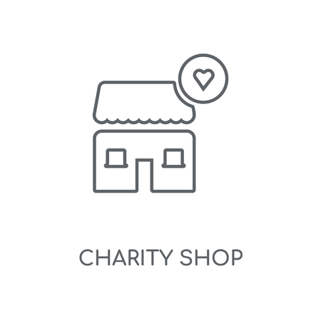 Charity Shop linear icon. Charity Shop concept stroke symbol design. Thin graphic elements vector illustration, outline pattern on a white background, eps 10.