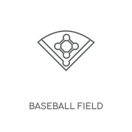 Baseball field linear icon. Baseball field concept stroke symbol design. Thin graphic elements vector illustration, outline pattern on a white background, eps 10.