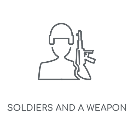 Soldiers and a weapon linear icon. Soldiers and a weapon concept stroke symbol design. Thin graphic elements vector illustration, outline pattern on a white background, eps 10.