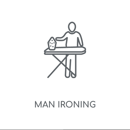 Man Ironing linear icon. Man Ironing concept stroke symbol design. Thin graphic elements vector illustration, outline pattern on a white background, eps 10. Illustration