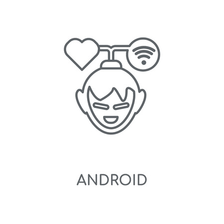 Android linear icon. Android concept stroke symbol design. Thin graphic elements vector illustration, outline pattern on a white background, eps 10.