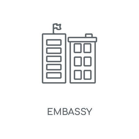 Embassy linear icon. Embassy concept stroke symbol design. Thin graphic elements vector illustration, outline pattern on a white background, eps 10.